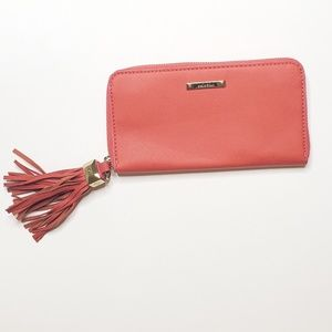 Stella  & Dot Zipper Wallet Clutch Red Coral